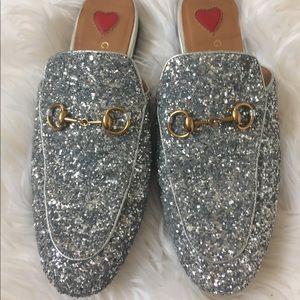 Gucci Princetown Mules Silver Glitter Slides 37
